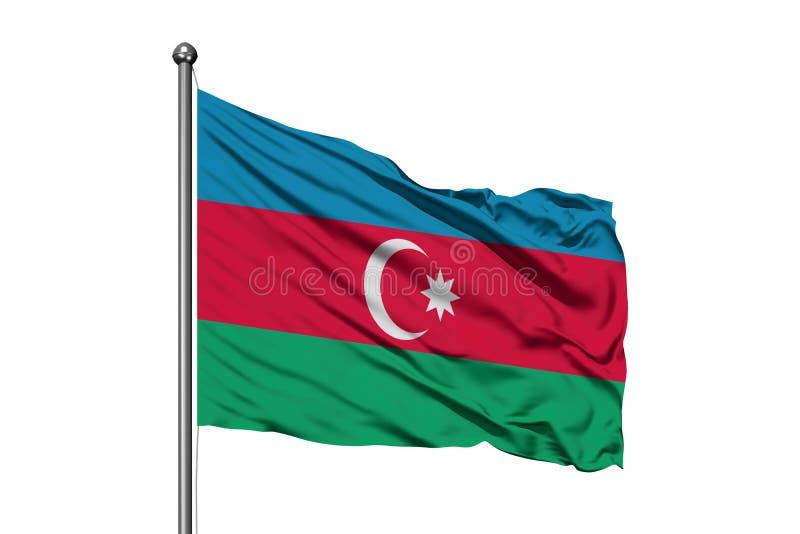 Drapeau de l'Azerbaïdjan ondulant dans le vent, fond blanc d'isolement Drapeau azerba?djanais photos libres de droits