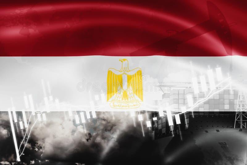 Drapeau de l'Egypte, marché boursier, économie d'échange et commerce, production de pétrole, navire porte-conteneurs dans l'expor illustration de vecteur