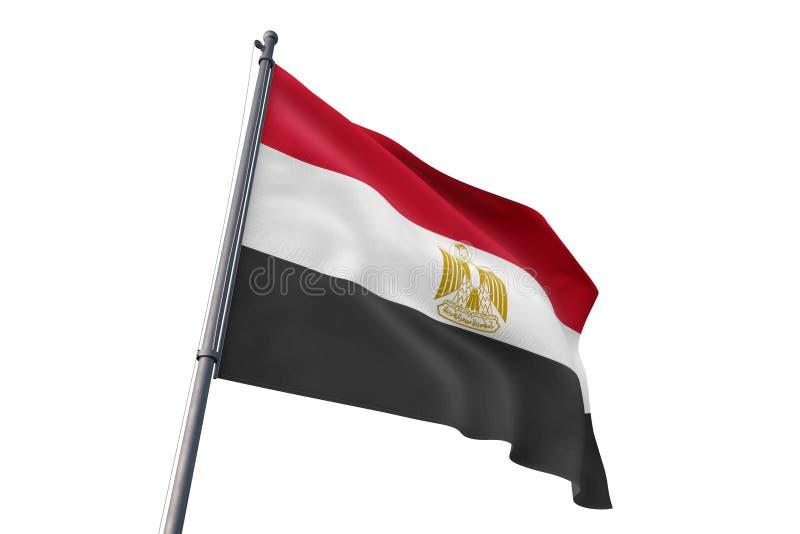 Drapeau de l'Egypte ondulant l'illustration blanche d'isolement du fond 3D illustration stock