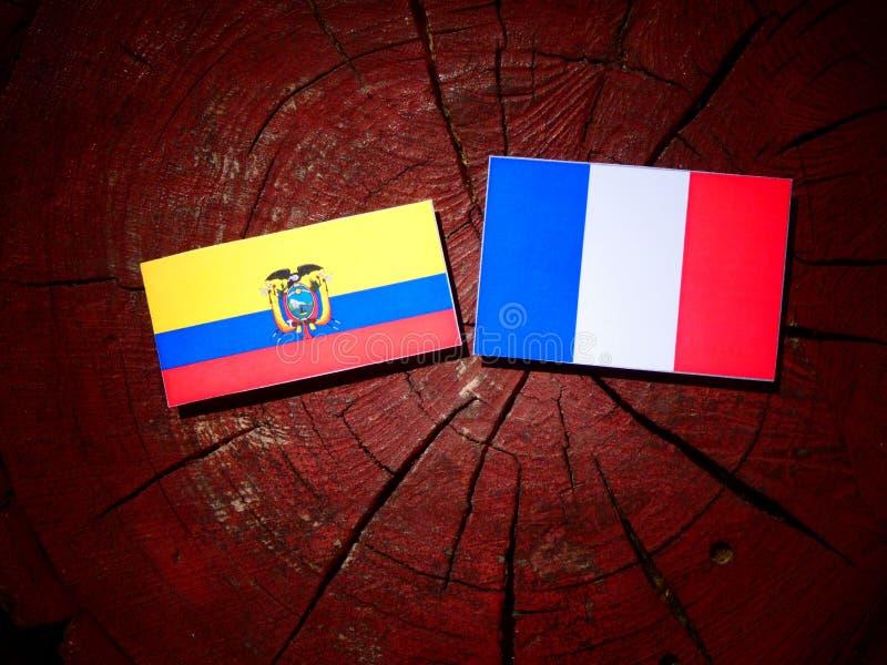 Drapeau de l'Equateur avec le drapeau français sur un tronçon d'arbre d'isolement photographie stock libre de droits