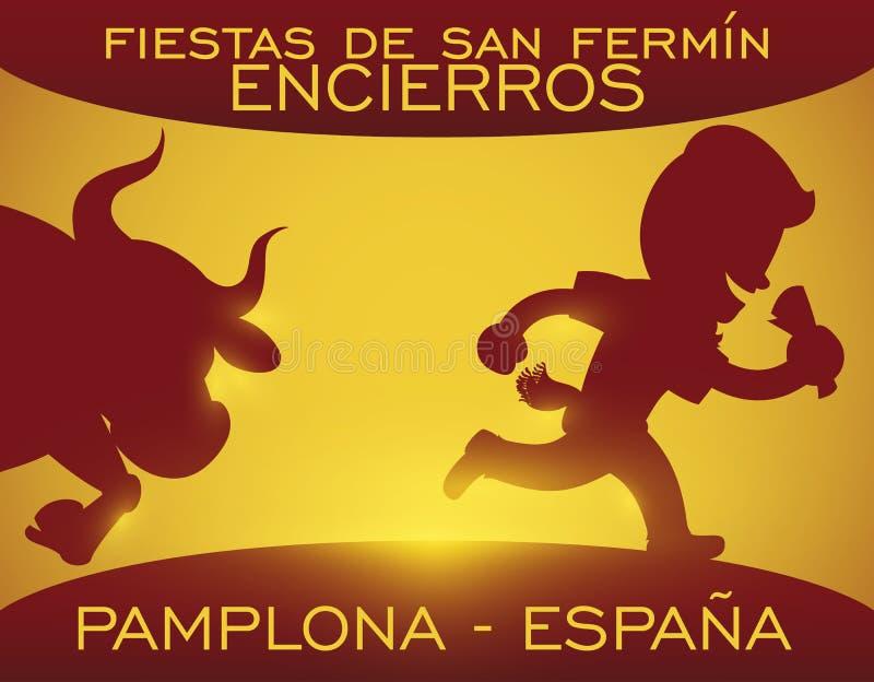 Drapeau de l'Espagne avec des silhouettes de Taureau et de coureur pour San Fermin, illustration de vecteur illustration libre de droits