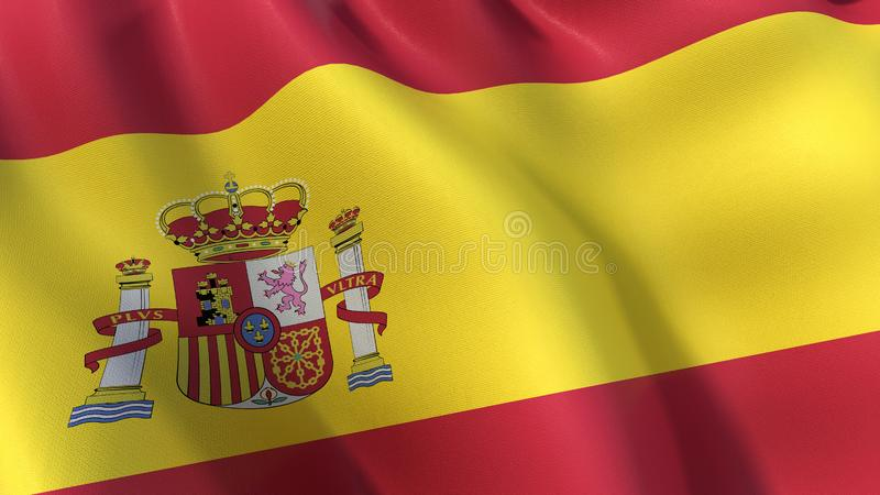 Drapeau de l'Espagne avec l'emblème, ondulant dans le vent illustration stock