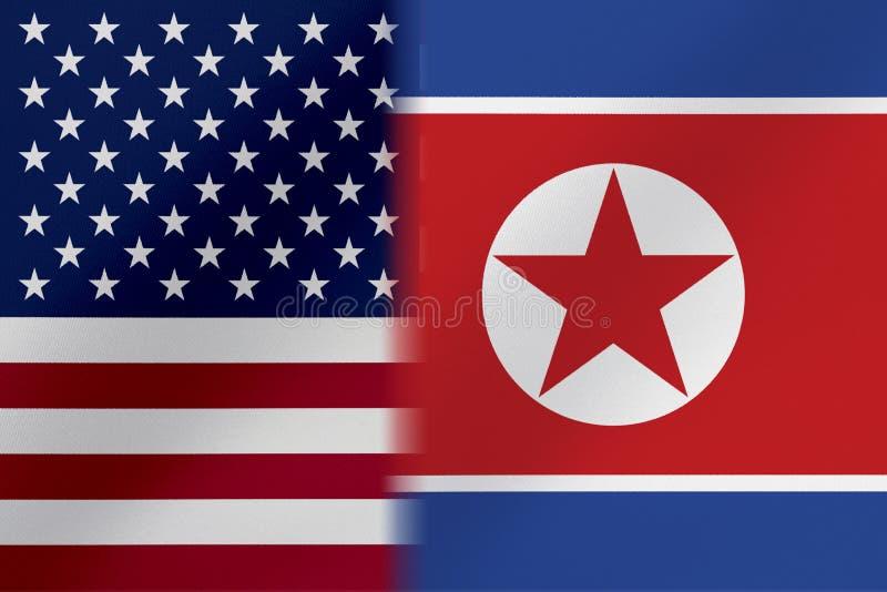 Drapeau de l'Etats-Unis d'Amérique ET le CORÉE DU NORD qui viennent ensemble montrant un concept qui signifie le commerce, politi illustration libre de droits