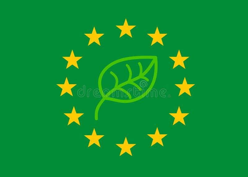 Drapeau de l'Europe dans les couleurs de l'écologie pour symboliser la politique environnementale du Parlement européen après les illustration libre de droits