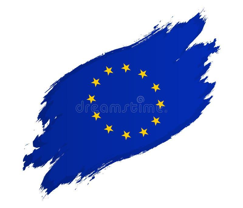 Drapeau de l'illustration grunge de vecteur de style d'Union européenne d'isolement sur le blanc illustration libre de droits