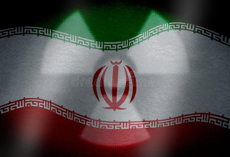Drapeau de l'Iran avec le symbole nucléaire illustration de vecteur