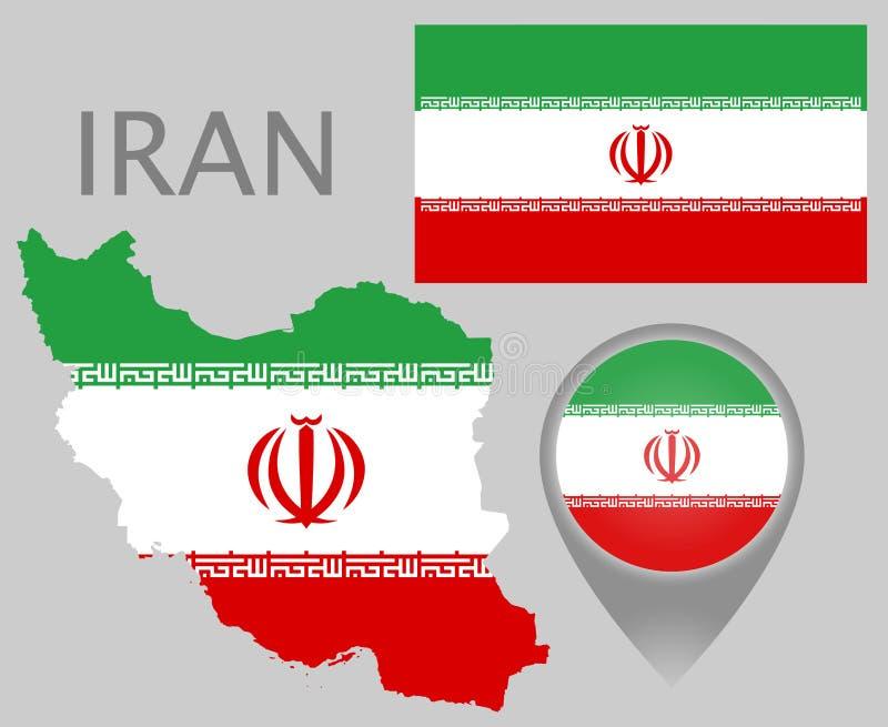Drapeau de l'Iran, carte et indicateur de carte illustration stock
