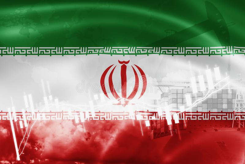 Drapeau de l'Iran, marché boursier, économie d'échange et commerce, production de pétrole, navire porte-conteneurs dans l'exporta illustration de vecteur