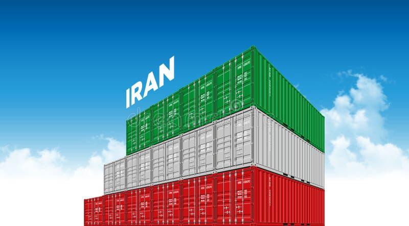Drapeau de l'Iran de récipient de cargaison d'expédition pour la logistique et transport avec des nuages illustration libre de droits