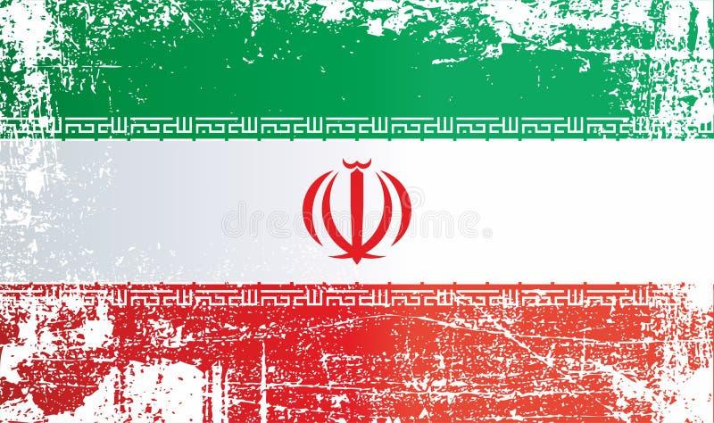 Drapeau de l'Iran, République islamique de l'Iran Taches sales froissées illustration stock