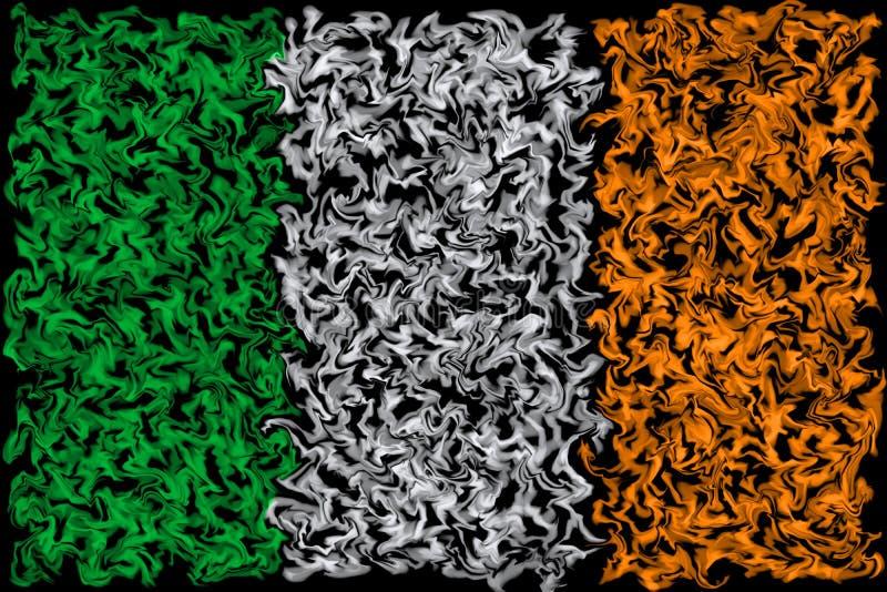 Drapeau de l'Irlande - conception brûlante enduite de couleurs illustration stock