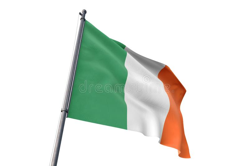 Drapeau de l'Irlande ondulant l'illustration blanche d'isolement du fond 3D illustration libre de droits