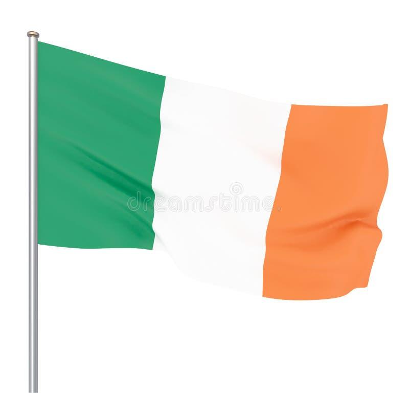 Drapeau de l'Irlande soufflant dans le vent Texture de fond 3d rendu, vague D'isolement sur le blanc illustration de vecteur