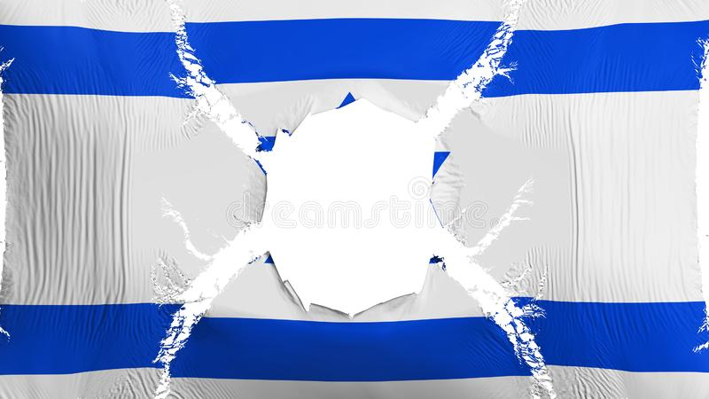 Drapeau de l'Israël avec un trou illustration de vecteur