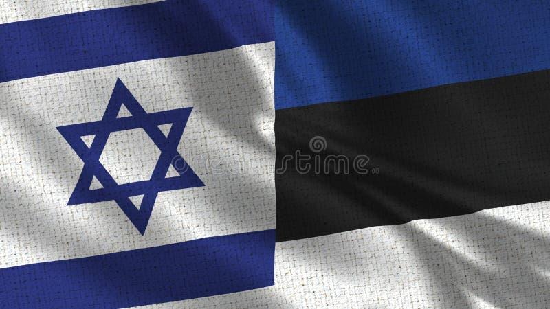 Drapeau de l'Israël et de l'Estonie - deux drapeaux ensemble photo stock