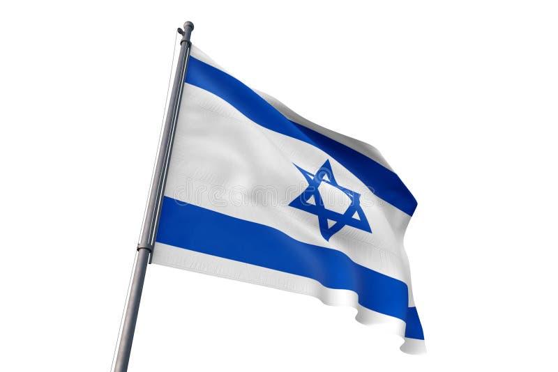 Drapeau de l'Israël ondulant l'illustration blanche d'isolement du fond 3D illustration libre de droits