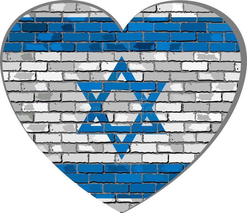 Drapeau de l'Israël sur un mur de briques dans la forme de coeur illustration libre de droits