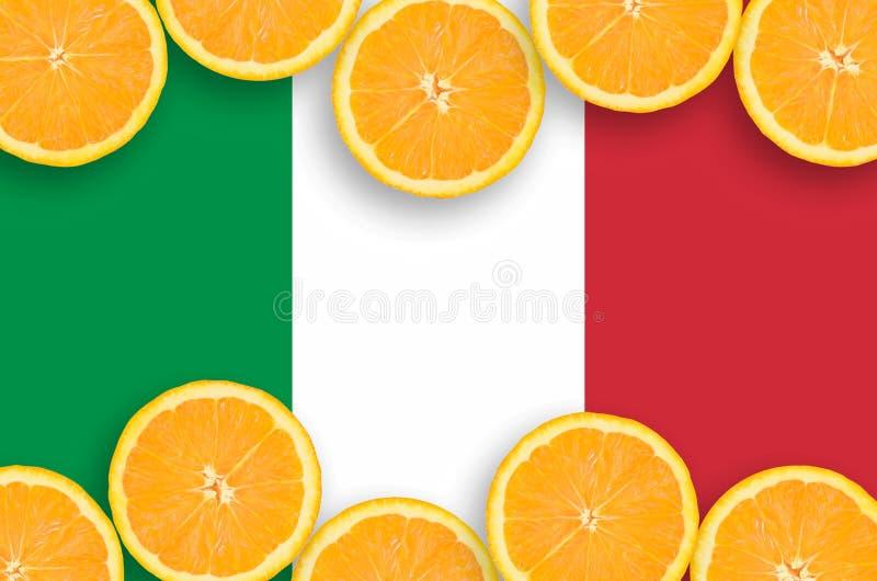 Drapeau de l'Italie dans le cadre horizontal de tranches d'agrumes image libre de droits