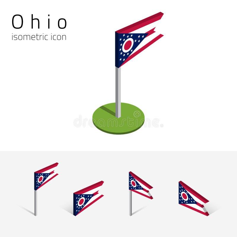 Drapeau de l'Ohio Etats-Unis, icônes plates isométriques du vecteur 3D illustration de vecteur