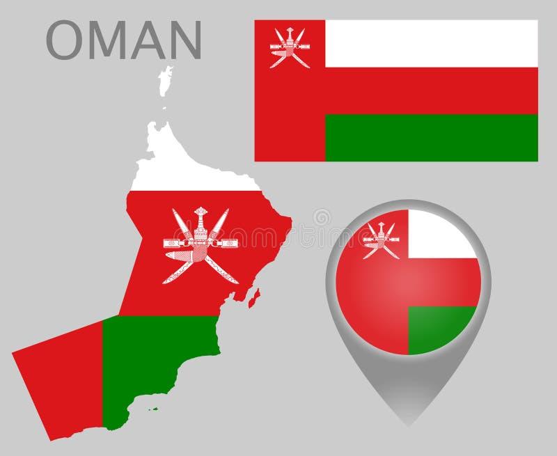 Drapeau de l'Oman, carte et indicateur de carte illustration libre de droits