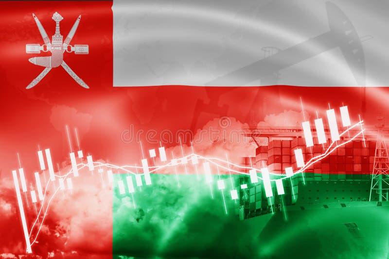 Drapeau de l'Oman, marché boursier, économie d'échange et commerce, production de pétrole, navire porte-conteneurs dans l'exporta illustration stock