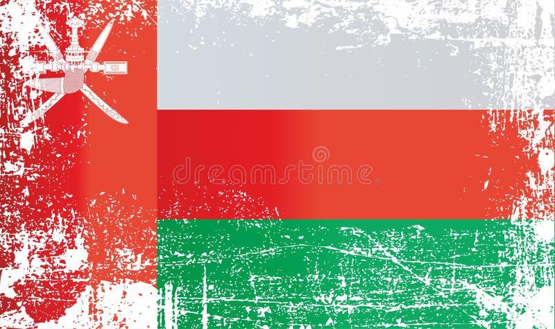 Drapeau de l'Oman, Sultanat d'Oman Taches sales froissées illustration libre de droits
