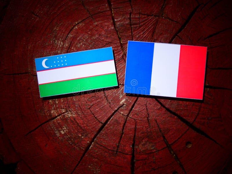 Drapeau de l'Ouzbékistan avec le drapeau français sur un tronçon d'arbre d'isolement image libre de droits