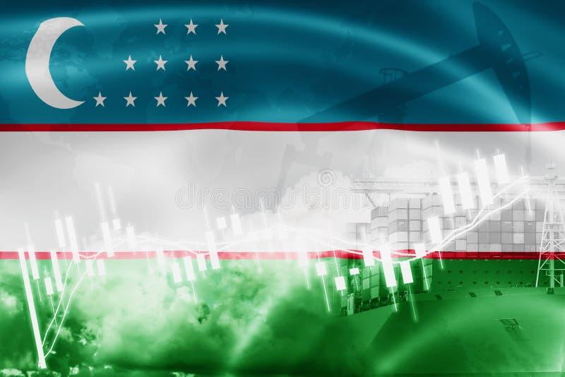 Drapeau de l'Ouzbékistan, marché boursier, économie d'échange et commerce, production de pétrole, navire porte-conteneurs dans de illustration de vecteur