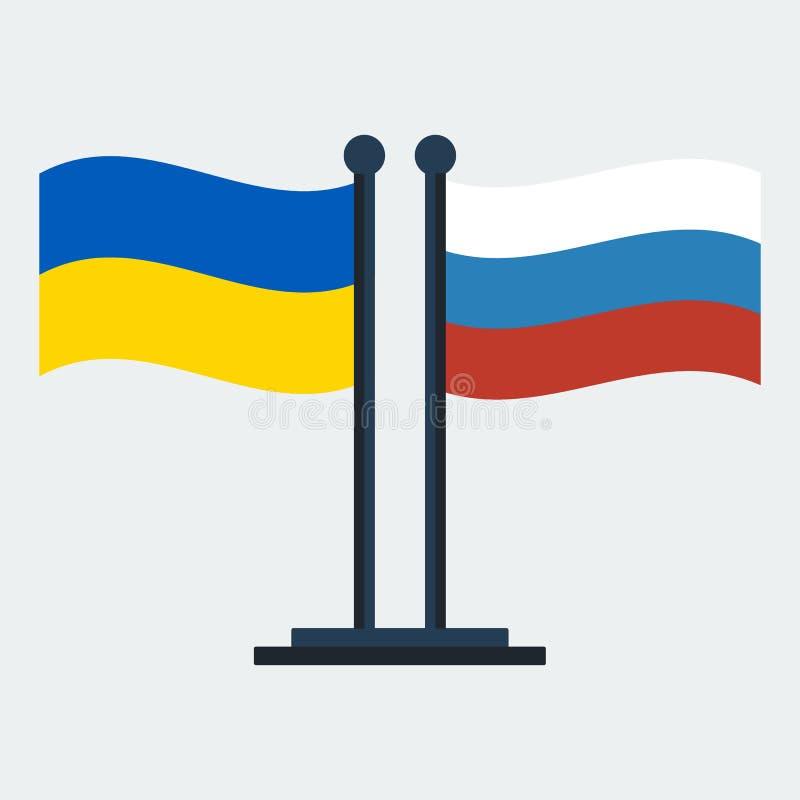 Drapeau de l'Ukraine et de la Russie Support de drapeau Illustration de vecteur illustration libre de droits
