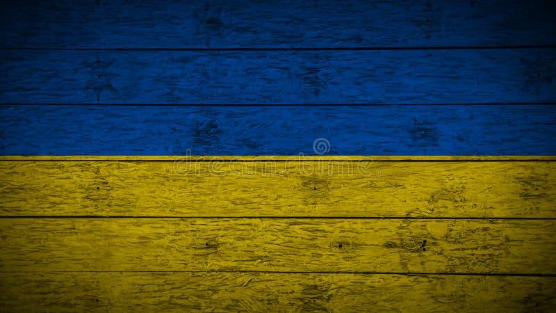 Drapeau de l'Ukraine sur de vieux conseils en bois Drapeau en bois de l'Ukraine Fond abstrait de drapeau pour votre texte ou logo illustration de vecteur