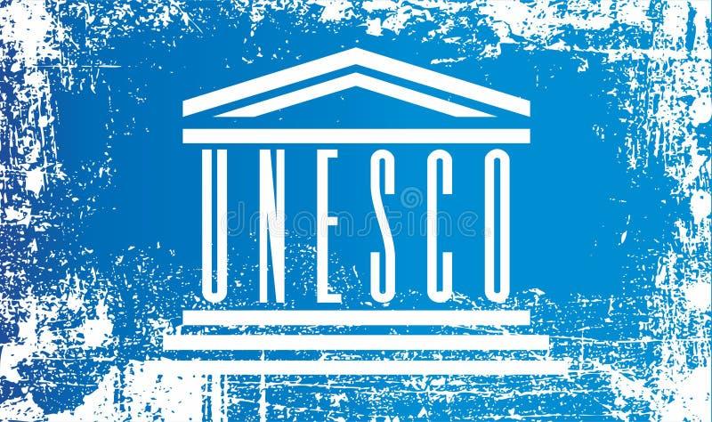 Drapeau de l'UNESCO, Organisation des Nations Unies pour l'éducation, la science et la culture Taches sales froissées illustration stock