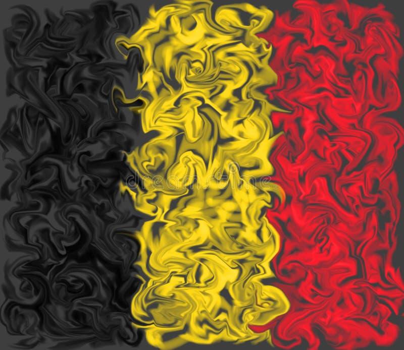 Drapeau de la Belgique - conception enduite brûlante de drapeau de couleur illustration de vecteur