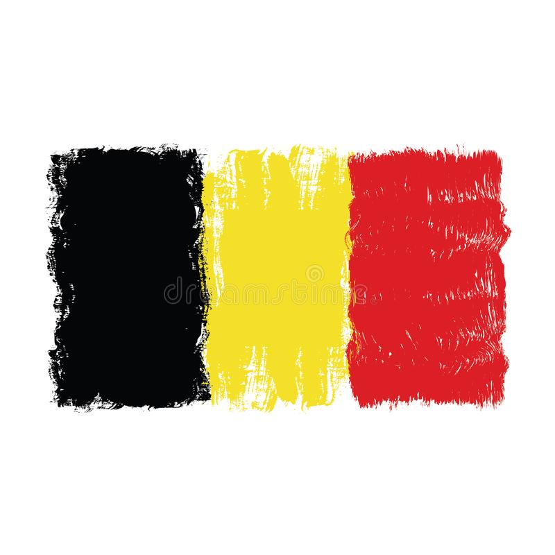 Drapeau de la Belgique, conception tirée par la main d'aquarelle illustration libre de droits
