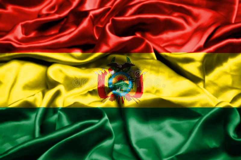 Drapeau de la Bolivie ondulant dans le vent illustration stock