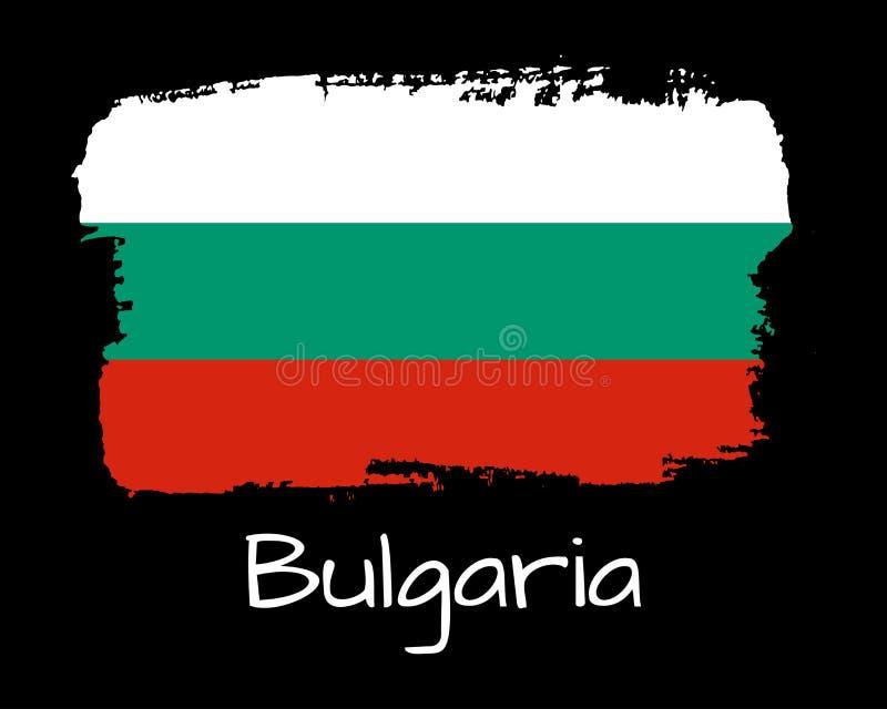 Drapeau de la Bulgarie d'aspiration de main Bannière nationale de la Bulgarie pour la conception sur le fond noir illustration de vecteur