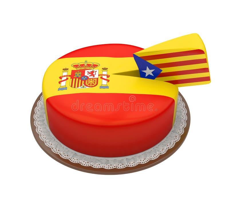 Drapeau de la Catalogne comme morceau de gâteau d'Espagnol illustration libre de droits