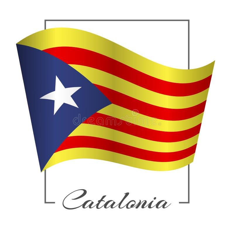 Drapeau de la Catalogne dans un cadre rectangulaire avec l'inscription rayures rouges et jaunes de Catalogne sur le référendum de illustration stock