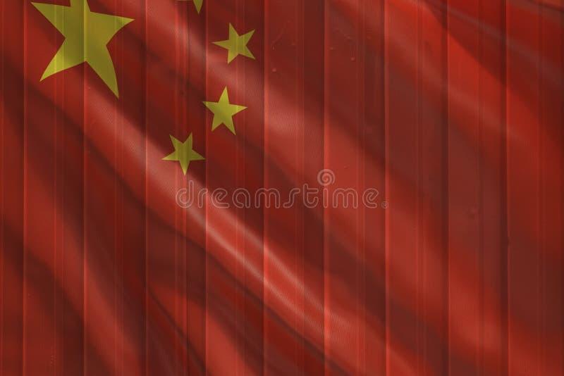 Drapeau de la Chine au-dessus de la surface de conteneur photographie stock libre de droits