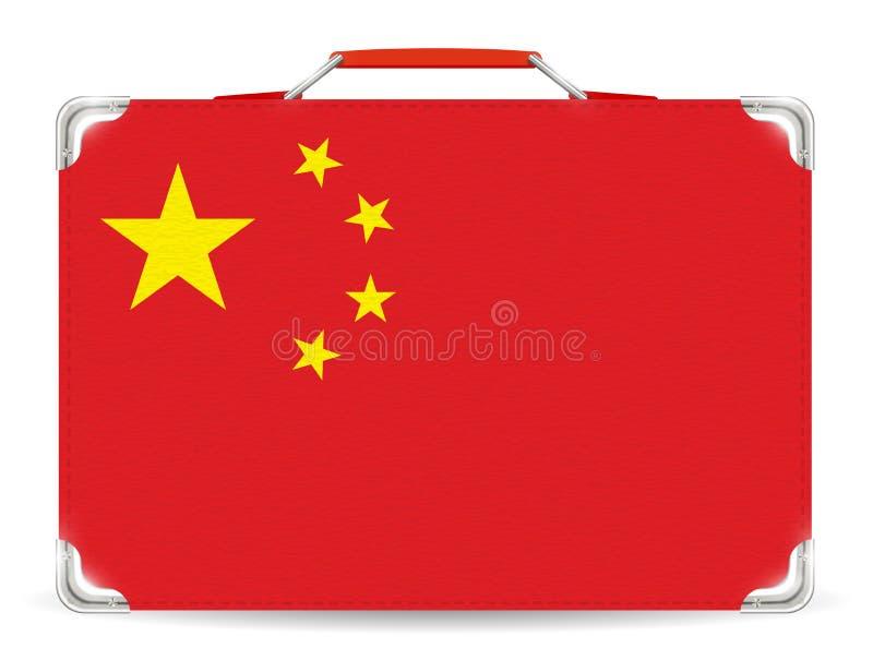 Drapeau de la Chine sur la valise de voyage sur le fond blanc illustration libre de droits