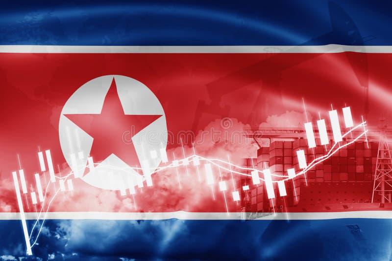 Drapeau de la Corée du Nord, marché boursier, économie d'échange et commerce, production de pétrole, navire porte-conteneurs dans illustration libre de droits