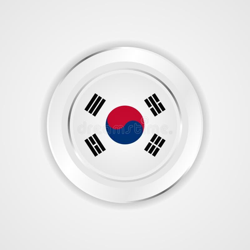 Drapeau de la Corée du Sud dans l'icône brillante illustration libre de droits