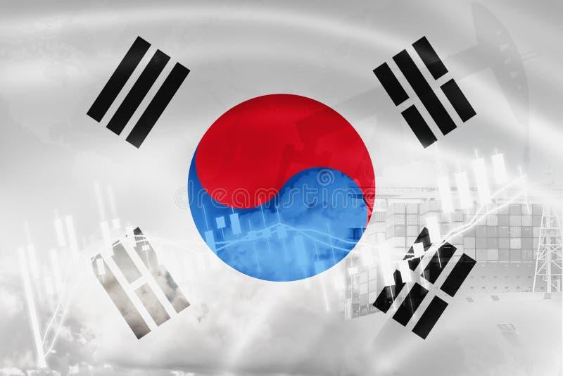 Drapeau de la Corée du Sud, marché boursier, économie d'échange et commerce, production de pétrole, navire porte-conteneurs dans  illustration libre de droits
