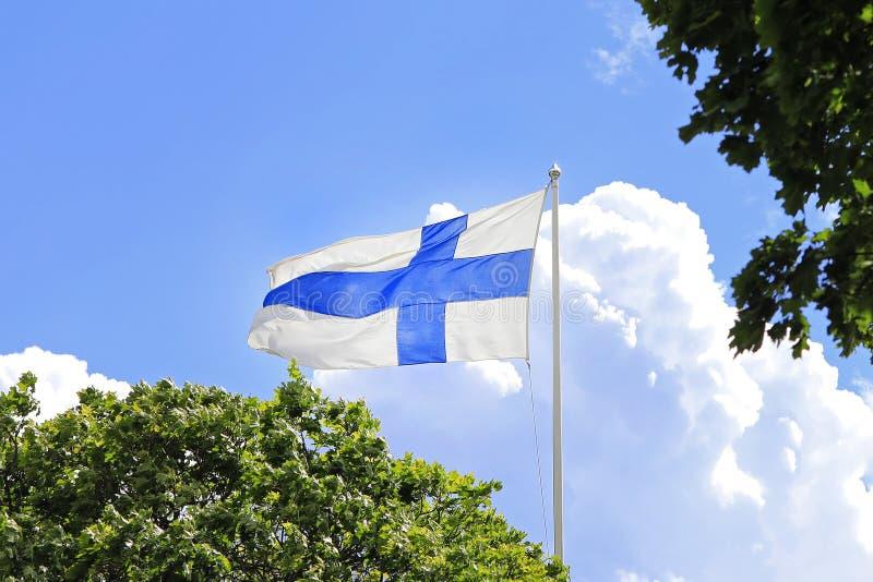 Drapeau de la Finlande en été photographie stock libre de droits