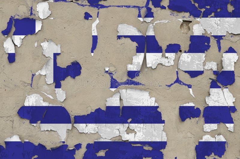 Drapeau de la Grèce peint en couleurs sur un vieux mur en béton désuet Bannière textuelle sur fond brut images libres de droits