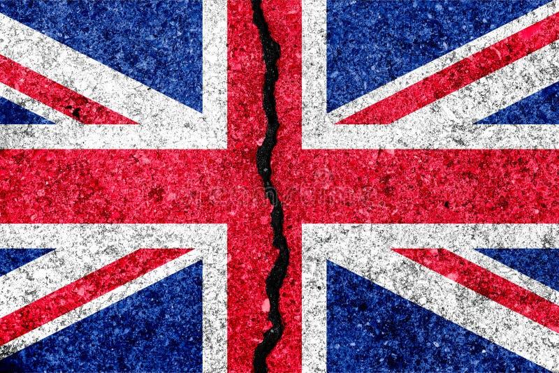 Drapeau de la Grande-Bretagne, connu sous le nom d'Union Jack, peint sur le mur criqué illustration de vecteur