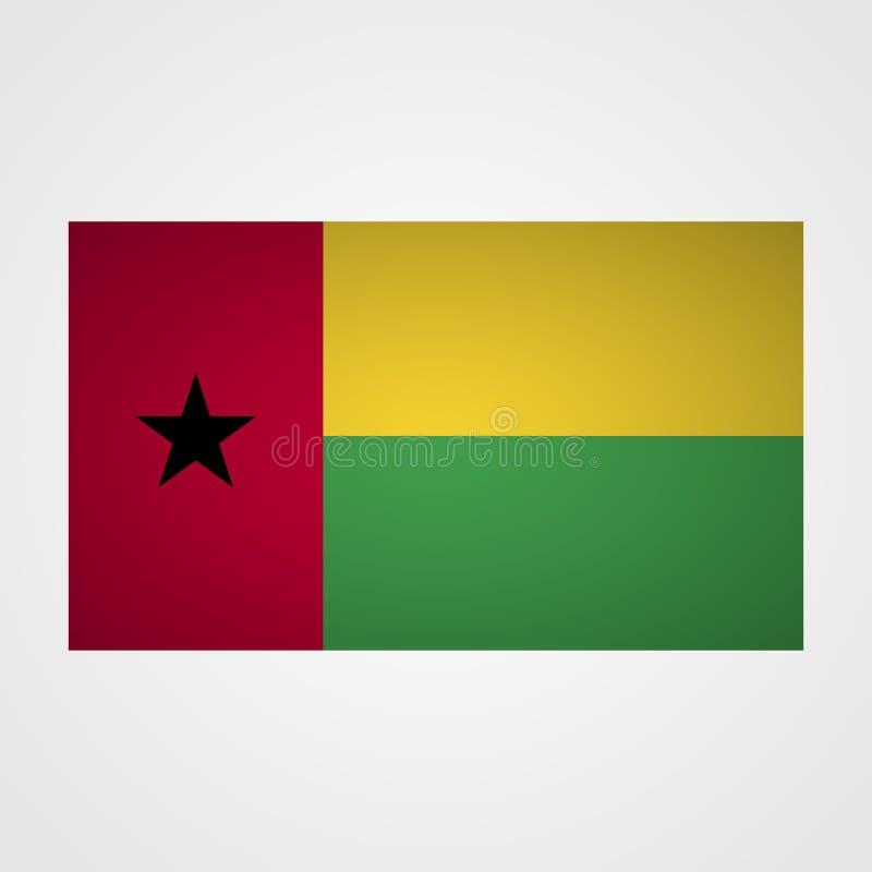 Drapeau de la Guinée-Bissau sur un fond gris Illustration de vecteur illustration stock