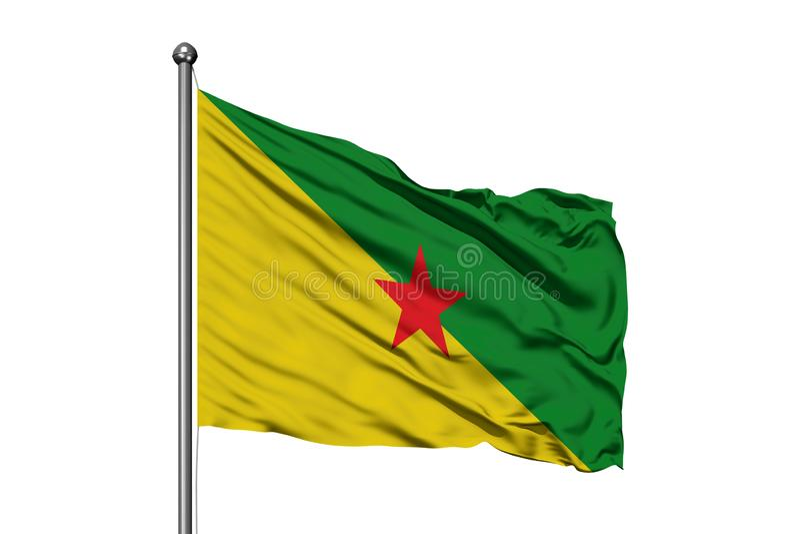 Drapeau de la Guyane française française ondulant dans le vent, fond blanc d'isolement image libre de droits