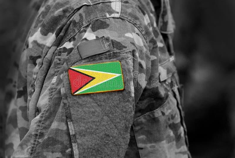 Drapeau de la Guyane sur le bras de soldat Drapeau de la République coopérative de photographie stock
