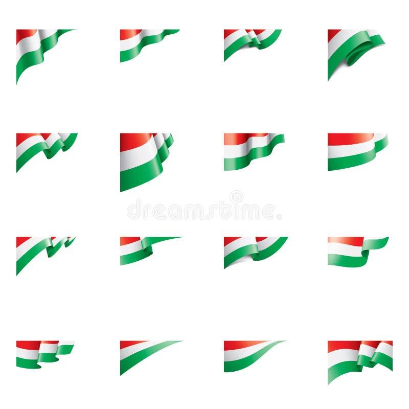 Drapeau de la Hongrie, illustration de vecteur sur un fond blanc illustration stock