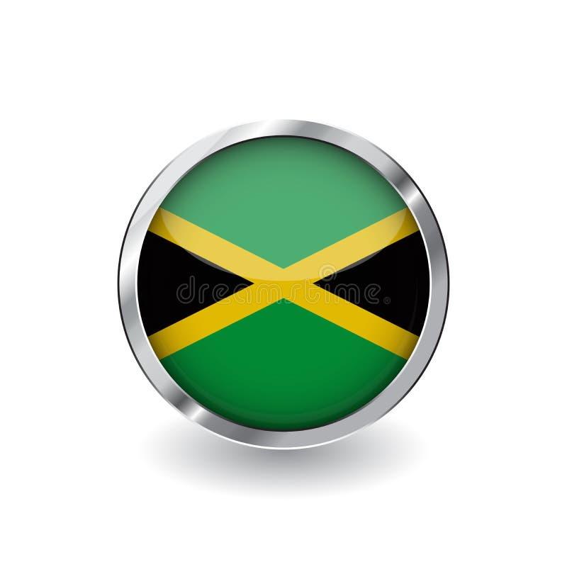 Drapeau de la Jamaïque, bouton avec le cadre en métal et l'ombre icône de vecteur de drapeau de la Jamaïque, insigne avec l'effet illustration libre de droits